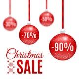 Palle rosse di vendita di Natale di vettore Fotografia Stock