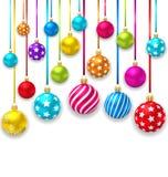Palle variopinte dell'ornamentale di Natale della raccolta Immagini Stock