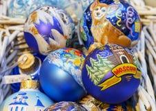 Palle variopinte di Natale con i vari modelli decorativi fotografie stock libere da diritti
