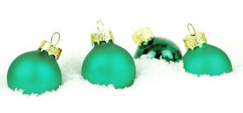 Palle verdi di Natale Fotografie Stock Libere da Diritti