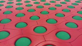 Palle verdi e fondo rosso dell'estratto del modello, illustrazione 3D illustrazione vettoriale