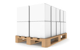Pallet. With blank boxes for copyspace. Part of warehouse and logistics series Royalty Free Stock Photos