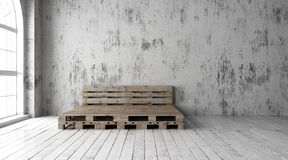 Pallet bed frame designs. 3D render. A industrial style bedroom with recycled pallet bed frame designs Royalty Free Stock Image