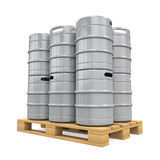 Pallet of Beer Kegs Stock Photo