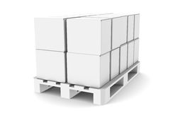 Pallet with Boxes. Copy Space. Part of warehouse series Royalty Free Stock Photos