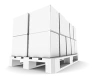 Pallet with Boxes. Perspective view. Copy Space. Part of warehouse series Royalty Free Stock Images