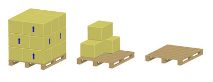 Pallet with and without boxes Stock Photos