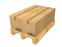 Pallet with boxes Royalty Free Stock Images