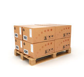 Pallet with boxes. On a white background Stock Photos