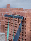 Pallet of Bricks on a Building Site Royalty Free Stock Photos