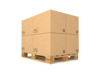 Pallet with cardboard boxes Stock Photos