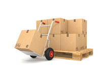 Pallet with cardboard boxes Stock Photo