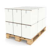 Pallet with Cardboard boxes Royalty Free Stock Images
