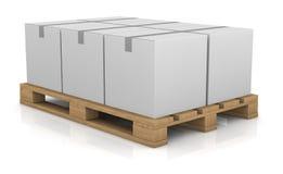 Pallet and carton box Stock Photography