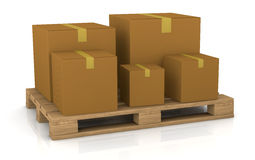 Pallet and carton box. One pallet with some carton boxes over it (3d render Royalty Free Stock Photo