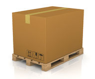 Pallet and carton box Royalty Free Stock Images