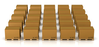 Pallet and carton box Stock Images