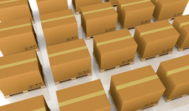 Pallet and carton box Royalty Free Stock Image