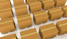 Pallet and carton box Royalty Free Stock Image