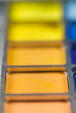 Pallet of colored eye shadows, texture. Shallow depth of field Royalty Free Stock Images