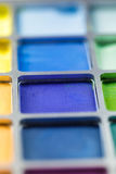 Pallet of colored eye shadows, texture. Shallow depth of field Royalty Free Stock Image