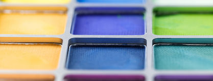 Pallet of colored eye shadows, texture. Shallow depth of field Royalty Free Stock Photos