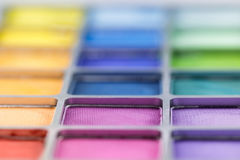 Pallet of colored eye shadows, texture. Shallow depth of field Stock Photography