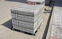 Pallet of concrete grey pavement blocks Royalty Free Stock Image