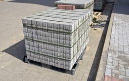 Pallet of concrete grey pavement blocks Royalty Free Stock Image