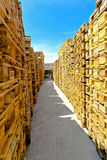 Pallet corridor Royalty Free Stock Images