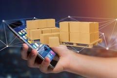 Pallet dei carboxes con il sistema della connessione di rete - 3d rendono Fotografia Stock