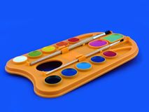 Pallet della vernice dell'artista Fotografie Stock