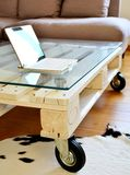 Pallet design table in modern living house stock photos