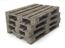 Pallet di legno del magazzino Immagini Stock