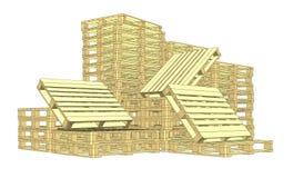 Pallet di legno Isolato su bianco Fotografie Stock
