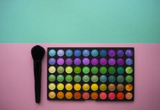 Eyeshadows on colorful background. royalty free stock photography
