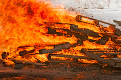 Pallet Fire Burns Strongly Stock Image