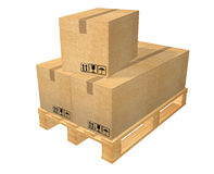 Pallet with five boxes Stock Photo