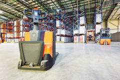 Pallet forklift truck at warehouse Stock Image