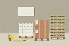 Pallet jack loading crates of beer. royalty free illustration