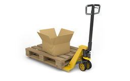 Pallet jack with pallet and cardboard box isolated on white. 3d Stock Photography