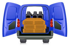 Pallet in minibus Royalty-vrije Stock Foto