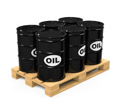 Pallet of Oil Drums. Isolated on white background. 3D render Stock Images