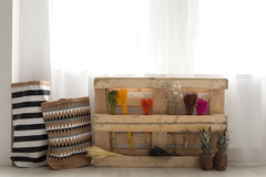 Pallet with plants stock photo