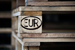 Pallet with print on euro-standart Royalty Free Stock Photo