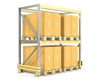 Pallet rack with cargo Royalty Free Stock Image