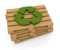 Pallet and recycle symbol Stock Photography