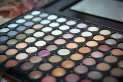 Pallet with shades of bright colors Bridal makeup, how to do makeup Stock Images