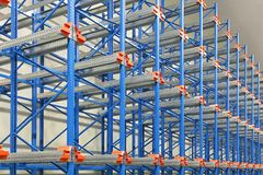 Pallet shelves. Pallet shelving system in distribution warehouse Royalty Free Stock Image