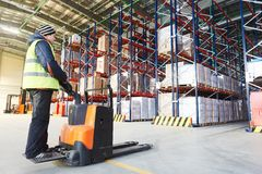Pallet stacker truck at warehouse Stock Images